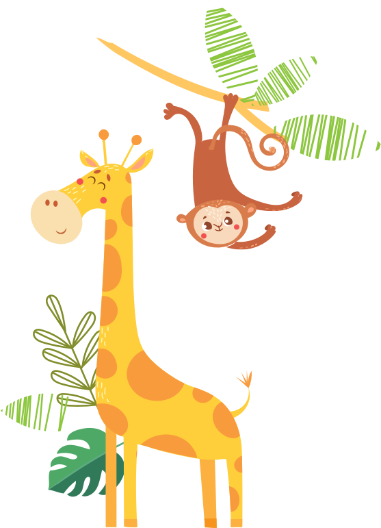 illustration of giraffe and monkey