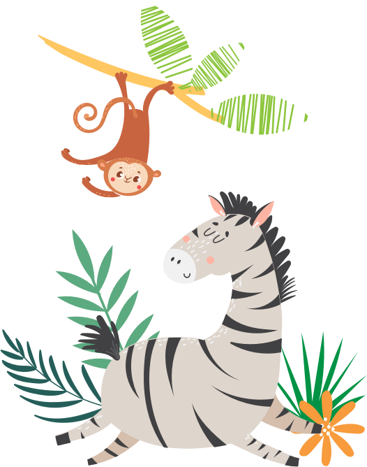 illustration of zebra and monkey